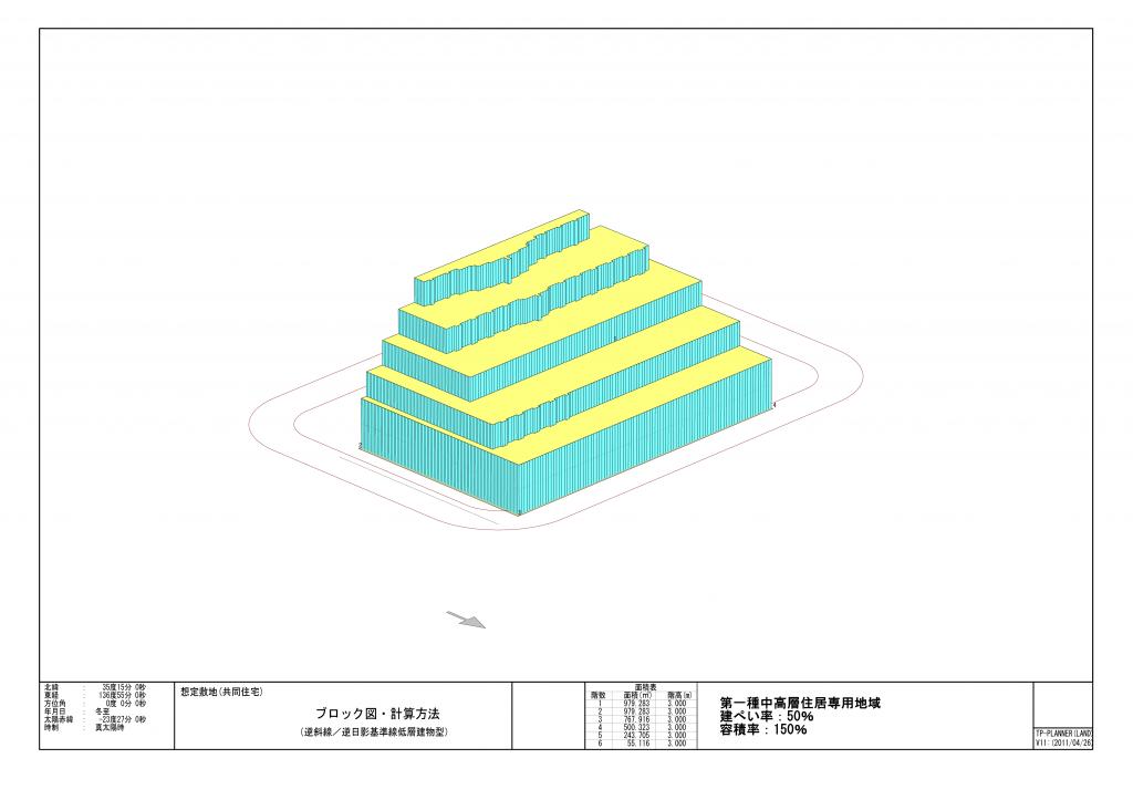 想定敷地(共同住宅)1中高